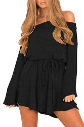Women Off Shoulder Long Sleeve Drawstring Thick Sweater Dress Black