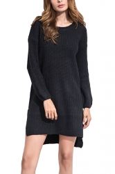 Women High Low Plain Side Slits Knit Sweater Dress Black