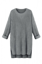 Women High Low Plain Side Slits Knit Sweater Dress Gray