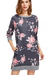 Womens Crew Neck Long Sleeve Flower Printed Shirt Dress Dark Gray