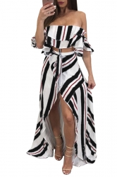 Sexy Striped Off Shoulder High Low Maxi Dress Two Piece Set Black
