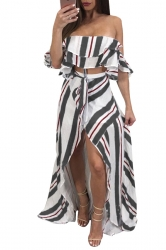 Sexy Striped Off Shoulder High Low Maxi Dress Two Piece Set Dark Gray