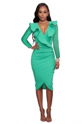 Women Sexy Ruffled Deep V Long Sleeve Bodycon Dress Green