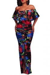 Sexy Off Shoulder Ruffled Floral Printed Slit Maxi Dress Black