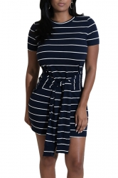 Women Stripe Short Sleeve Belt Mini Bodycon Dress Navy Blue