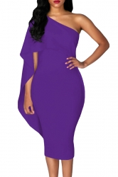 Women Cape Dress One Shoulder Sheath Evening Dress Purple