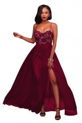 Ruby Spaghetti Straps Lace Patchwork High Slit Evening Dress