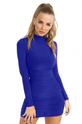 Womens Sexy Skinny Plain Long Sleeve Pleated Bodycon Dress Sapphire Blue