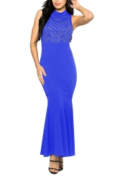 Women Sexy Rhinestone Sleeveless Fishtail Evening Dress Blue