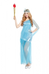 Women Halloween Costume The Statue Of Liberty Cosplay Blue