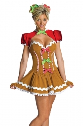 Womens Sexy Christmas Gingerbread Girl Costume Dress Brown