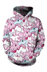 Women Unicorn Printed Draw String Front Pocket Pullover Hoodie Pink