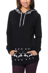 Women Long Sleeve Reindeer Printed Pocket Christmas Hoodie Black