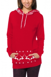 Women Long Sleeve Reindeer Printed Pocket Christmas Hoodie Red