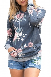 Women Floral Printed Long Sleeve Pocket Pullover Hoodie Dark Gray