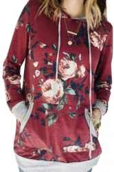 Women Floral Printed Long Sleeve Pocket Pullover Hoodie Ruby