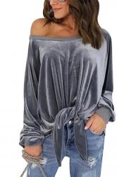 Women Sexy One Shoulder Long Sleeve Bow-Tie Sweatshirt Gray