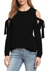 Cold Shoulder Bow-Tie Long Sleeve Crew Neck Plain Sweatshirt Black