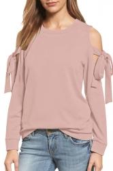 Cold Shoulder Bow-Tie Long Sleeve Crew Neck Plain Sweatshirt Pink