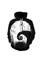 Womens Halloween Jack Skellington Printed Draw String Hoodie Black