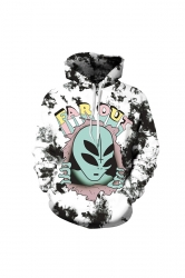 Womens Halloween Far Out Alien Printed Draw String Hoodie Blue