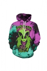 Womens Halloween Don't Be Sad Alien Printed Draw String Hoodie Purple
