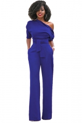 Women Sexy One Shoulder Belt High Waist Jumpsuit Sapphire Blue