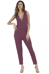 Deep V Elastic Waist Zipper Sleeveless Jumpsuit Dark Red