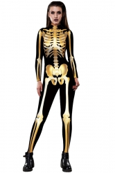 Women Halloween Costumes Skull Printed Jumpsuit Gold
