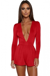 Womens Sexy Deep V-Neck Long Sleeve Back Zipper Romper Red