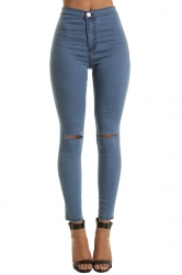Women Elastic Ripped Plain Skinny Jeans Blue