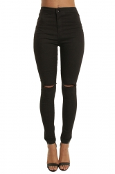 Women Elastic Ripped Plain Skinny Jeans Black