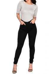 Women High Waist Plain Skinny Jeans Black