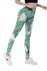 Women Skinny Fitness Elastic Leaf Printed Leggings Green