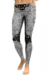 Women Skinny Ankle Length Floral Printed Leggings Black And White