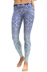 Women Skinny Elastic Ankle Length Floral Printed Leggings Blue
