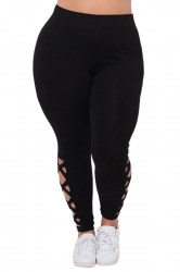 Womens Plus Size Cross Lace Up Elastic High Waist Leggings Black