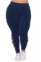 Womens Plus Size Cross Lace Up Elastic High Waist Leggings Navy Blue