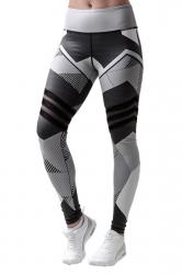 Womens Geometry Printed High Waist Elastic Yoga Sport Leggings Black