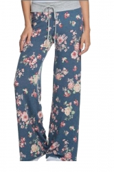 Women Casual Draw String Floral Printed Loose Pants Blue