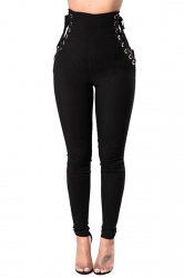 Women Eyelet Cross Lace Up High Waist Plain Leisure Pants Black