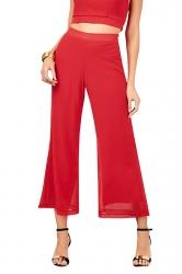 Women Elastic Waist Double Layer Chiffon Wide Legs Pants Red
