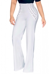 Womens Plain Eyelet Lace Up High Waist Wide Leg Pants White