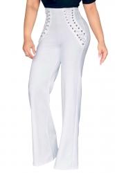 Womens Plain Eyelet Lace Up High Waist Wide Leg Pants White