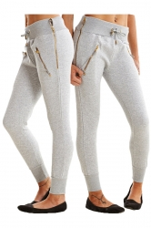 Womens Zipper Tight Drawstring Sports Wear Pants Light Gray