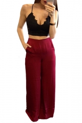Womens Elegant High Waist Wide Leg Plain Pants Ruby