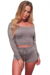Womens Sexy Off Shoulder Long Sleeve Crop Top Short Pants Suit Gray
