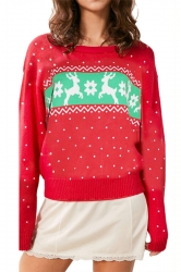 Long Sleeve Crew Neck Reindeer Printed Christmas Sweater Red