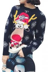 Snowflake&Reindeer Printed Crew Neck Christmas Sweater Navy Blue