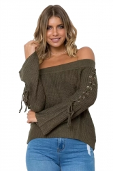 Sexy Off Shoulder Lace Up Sleeve Knit Sweater Army Green